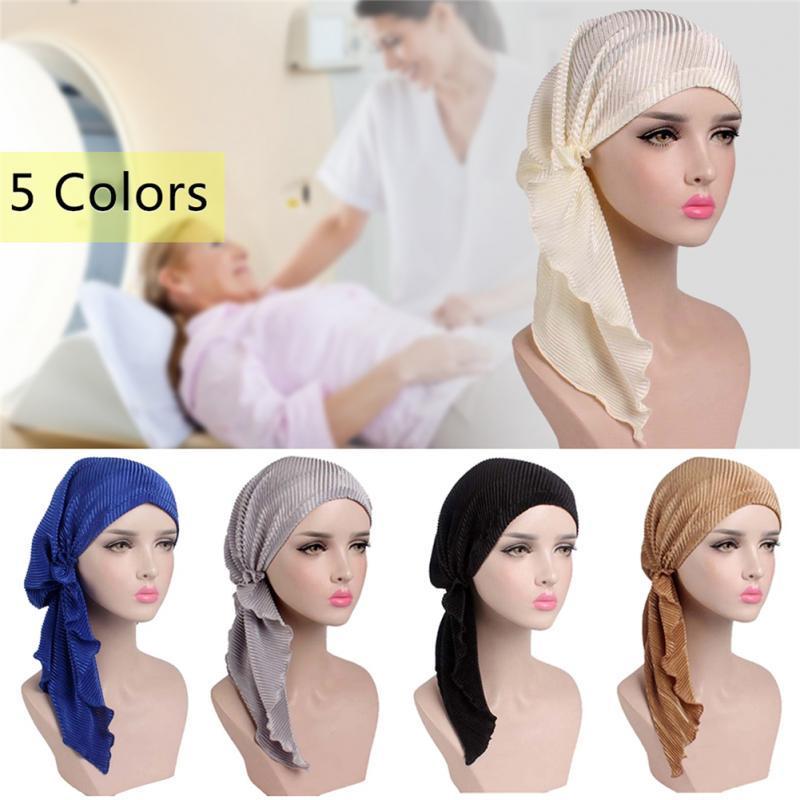 Mujeres moda turbante cabeza abrigo cáncer quimio Cap plisados ...