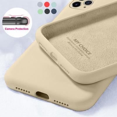 For iPhone 13 12 11 Pro Max 13 12 Mini 7 8 6s XR XS SE 2020 Liquid Silicone Cover Candy Color Coque with Camera Protect