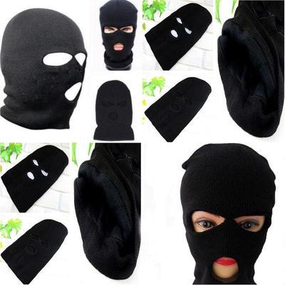 3 Hole Ski Mask Balaclava Black Knit Hat Face Shield Beanie Cap Snow Winter  Warm 93a865b1b0fa