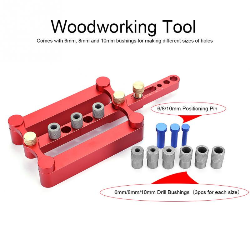 herramienta de carpinter/ía plantilla de pasador de 6 mm perforadora 10 mm Herramienta de gu/ía de taladro panel de madera localizador de gu/ía de perforaci/ón 8 mm
