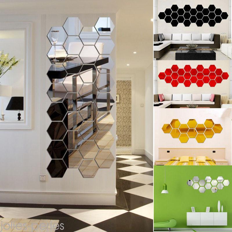 Sticker Autocollant D/écoratif Miroirs D/écoratifs,/ Autocollants muraux Tuile Miroir Acrylique G/éom/étrique DIY 12 PCs Autocollant Miroir Mur