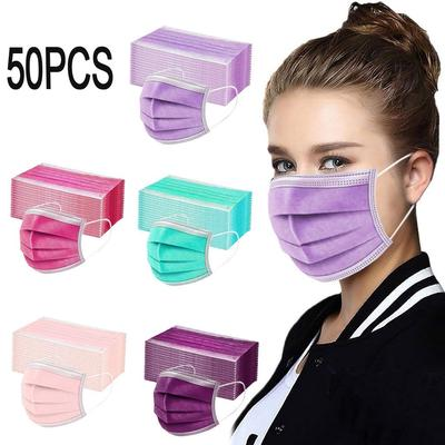 50PCS Women Man Solid Mask Disposable Face Mask 3Ply Ear Loop Anti-PM2.5 Mask Arm