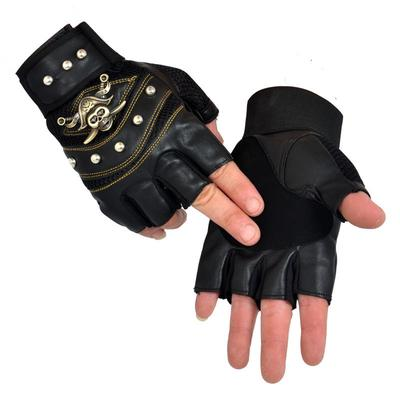 Punk Pirate Rivet Net Bicycle Leather Motorcycle Cycling Hiking Glove  Outdoor Sports Tactical Mitten