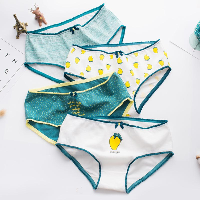 Underwear Women Panties Cotton Briefs Mango Lady Low Waist Underpants Print New