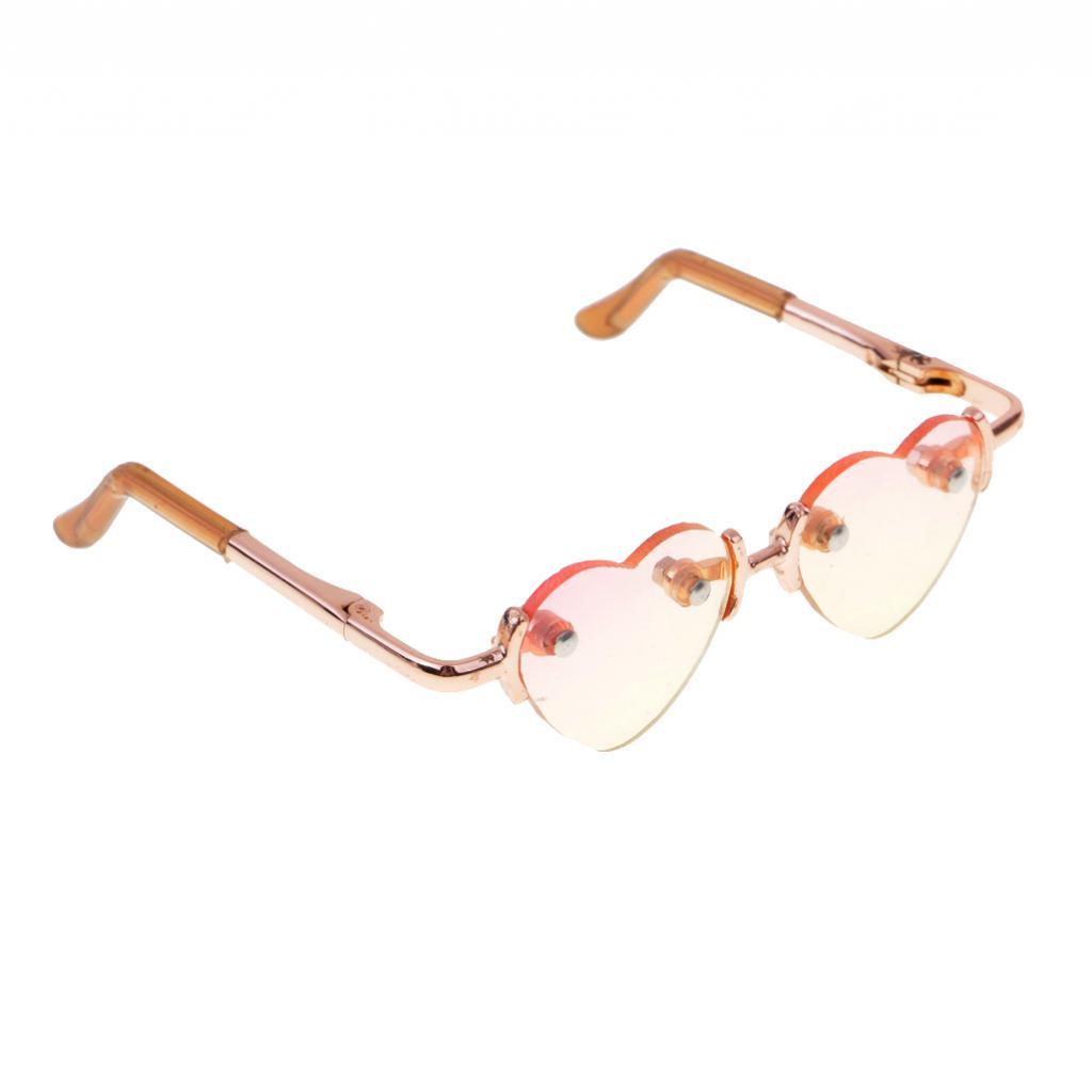 d70fc4e5e0 1 3 BJD Gold Leg No Frame Heart Glasses Eyewear for SD Dollfie ...