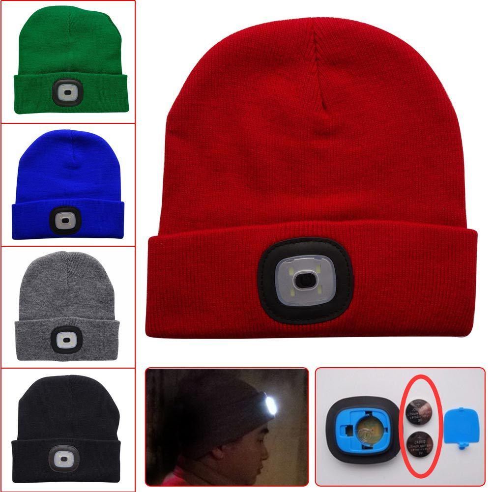 Unisex Camping Lighting Warm Hat LED Headlight Torch Knitted Baggy Beanies Hats
