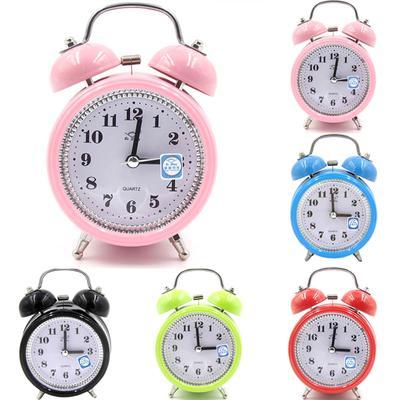 Charmed Portable Fashion Classic Silent Double Bell Alarm Clock Quartz Movement Bedside Night Light