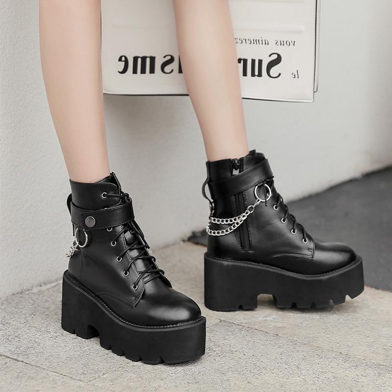 Chic Women Shoes Casual Lace Up Platform Block Chunky Heel Punk Goth Ankle Boots
