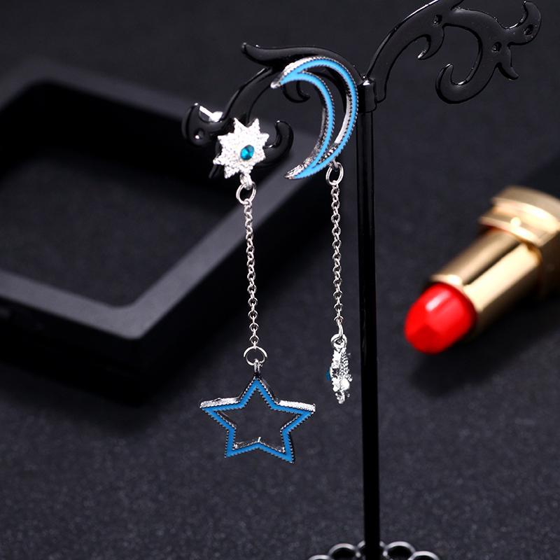 Луна и звезда асимметричные серьги персонализированные серьги заявление для леди подарок ювелирные изделия моды фото