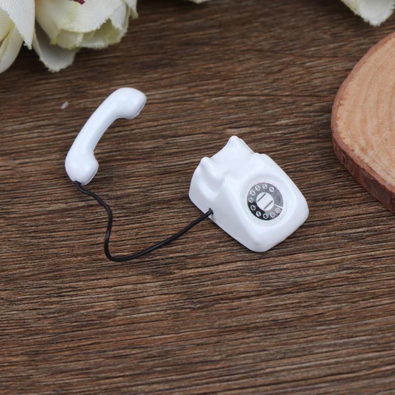 1//12 Dollhouse Miniature White Telephone Pretend Play Doll House Furniture UT5