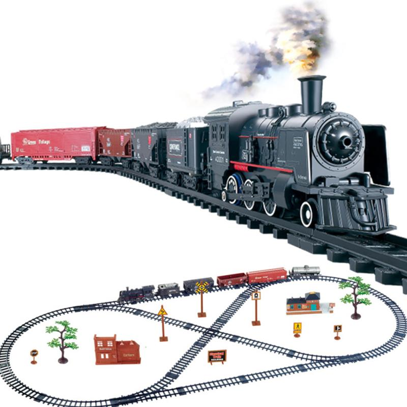 Track Train Girls Electric Train Building Kit Retro Steam Locomotive Engine Model with Light Sound Play Set Toy Classic Toy Train Set Idea for Boys Toddlers
