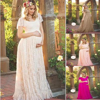 Pregnant Lace Maxi Dress Ladies Off Shoulder Low Cut Long Maternity Gown Casual Summer Photo Prop Buy At A Low Prices On Joom E Commerce Platform