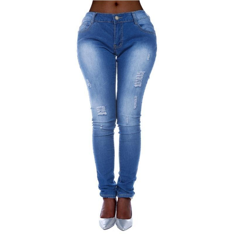 Ripeado De Mujer Denim Skinny Pantalones Cintura Alta Stretch Jeans Slim Lapiz Pantalones Comprar A Precios Bajos En La Tienda En Linea Joom