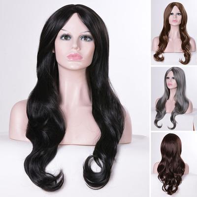 Las mujeres Sexy Glamour larga resistente al calor Natural rizado pelo  ondulado peluca fiesta 0282707db621