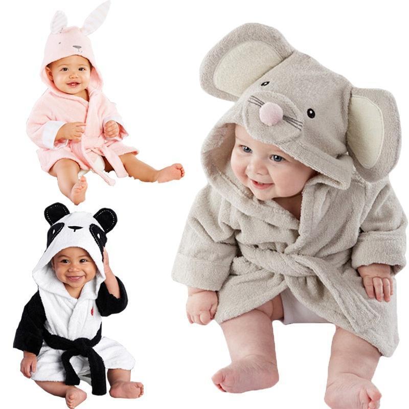 Baby Infant Boys Girls 1-12Months Shark Animal Design Bathrobe Cute Hooded Sleepwear Bath Towel