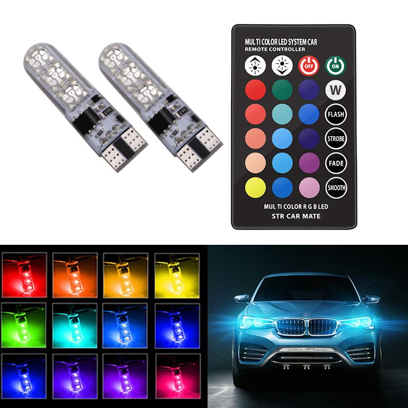 Festoon T10 RGB 12 LED SMD 5050 Car Dome Interior Light Bulbs Remote Control Hot