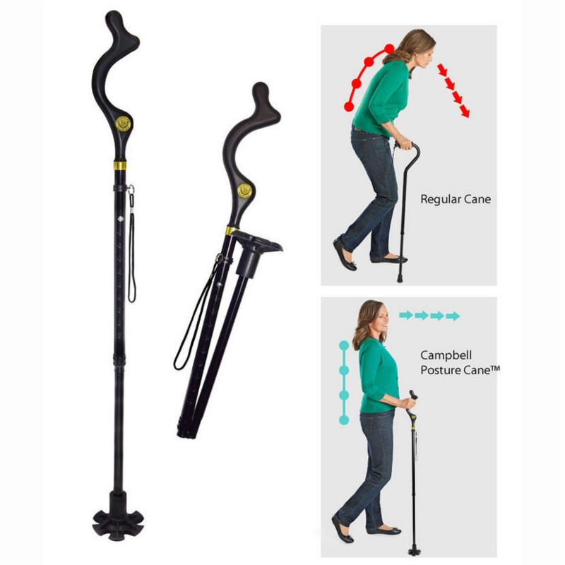 Safety Elderly Walking Stick Telescopic Canes Crutch Staff Folding Grip Hiking