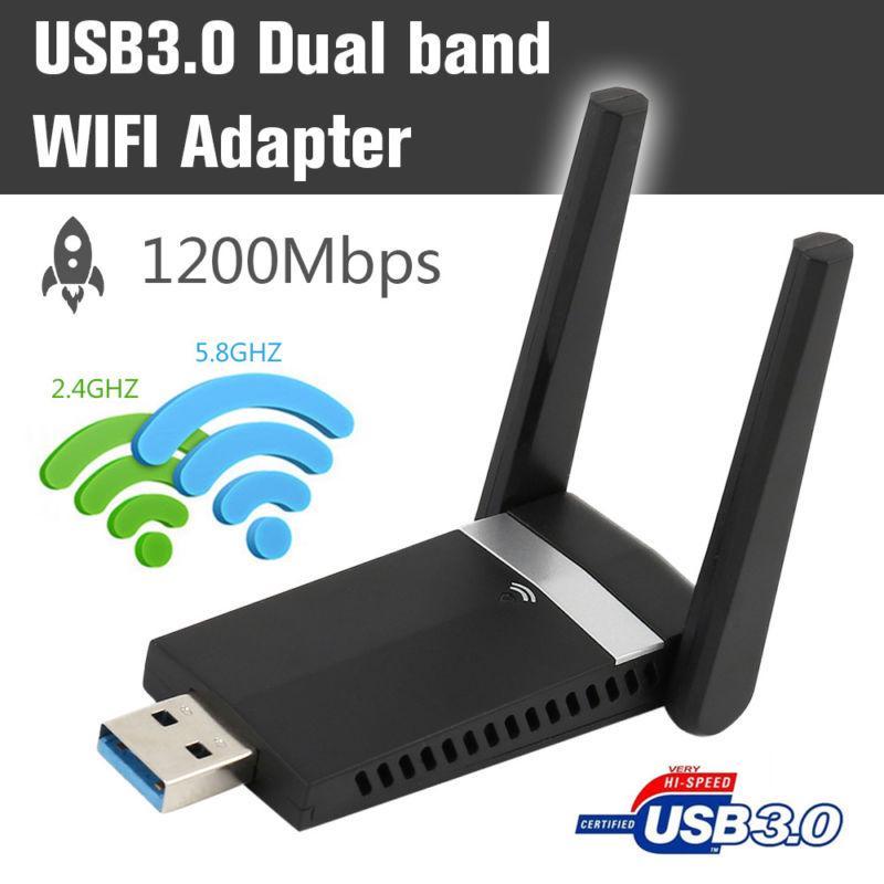 1200Mbps 2.4//5.8GHz Dual Band USB 3.0 Radar Wireless Signal WiFi Adapter Antenna
