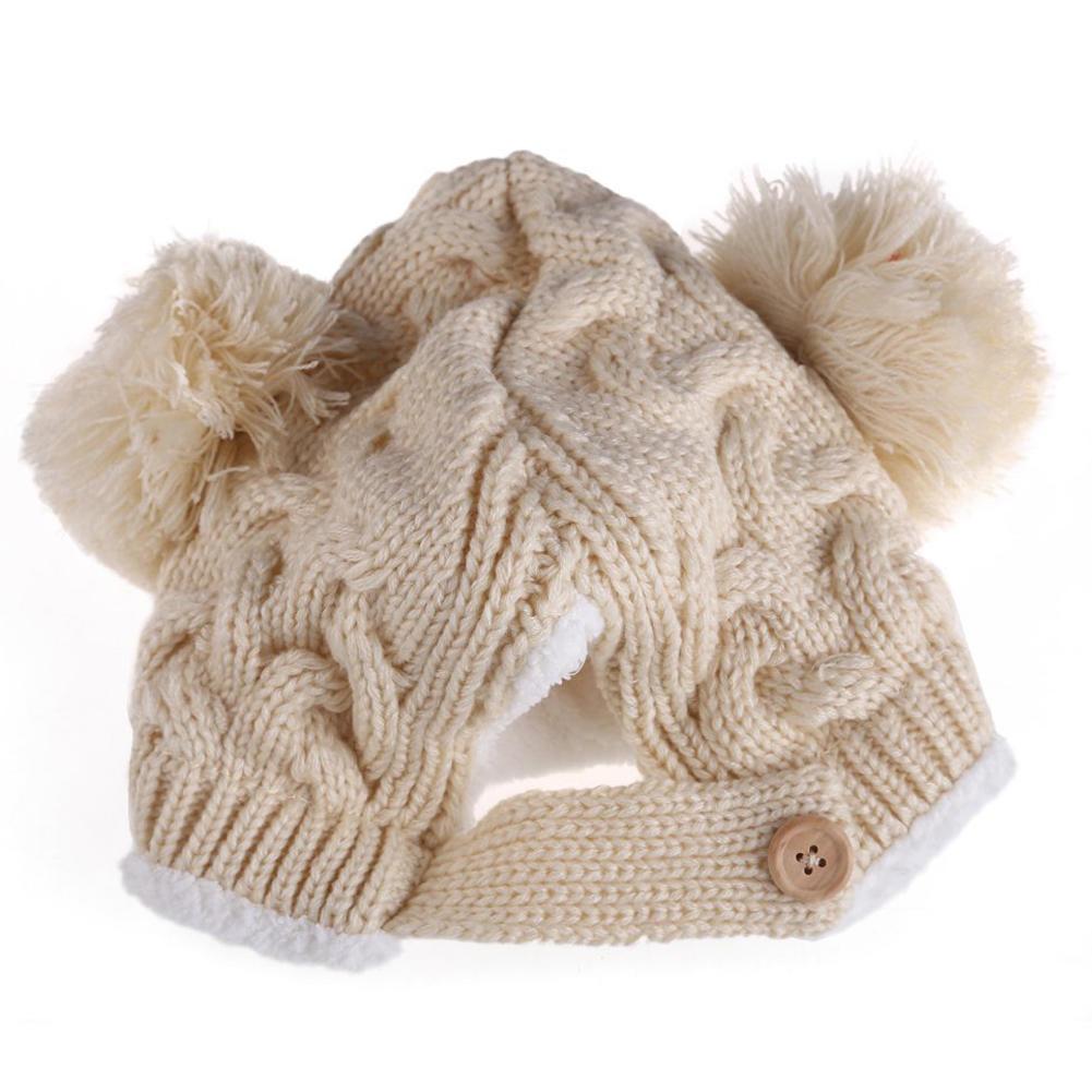Bebé niños niñas ganchillo punto costilla Pom Pom invierno sombrero ...
