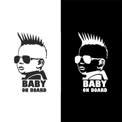 Universal Baby In Car Waving Baby on Board Safety Sign Fashion Car Decal Sticker