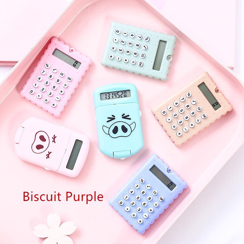 Portable 8 Digits Display Calculator Cartoon Mini Ultra-thin Button Calcula M4M4
