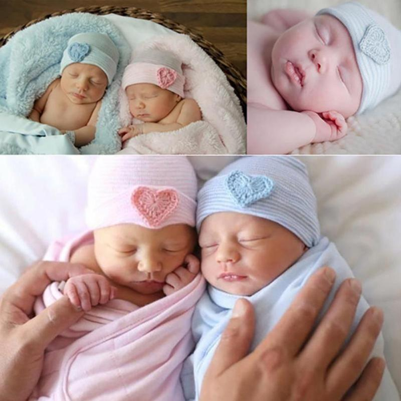 0-3 Month Baby Infant Hat Colorful Striped Soft with Bow Hospital Newborn Beanie