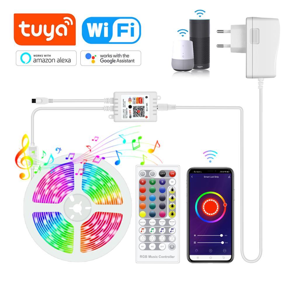 12V Smart WiFi LED RGB Light Strip Music Controller For Alexa Google Assistant