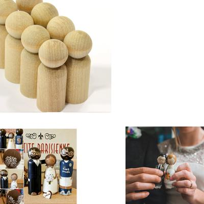 5//10x Solid Hard Wood Bodies Natural Unfinished Wooden Peg Dolls Kids Toys