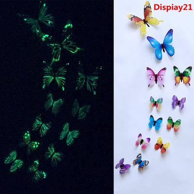 Dispiay21 12pcs Luminous Butterfly Design Decal Art Wall Stickers Room Home Decor