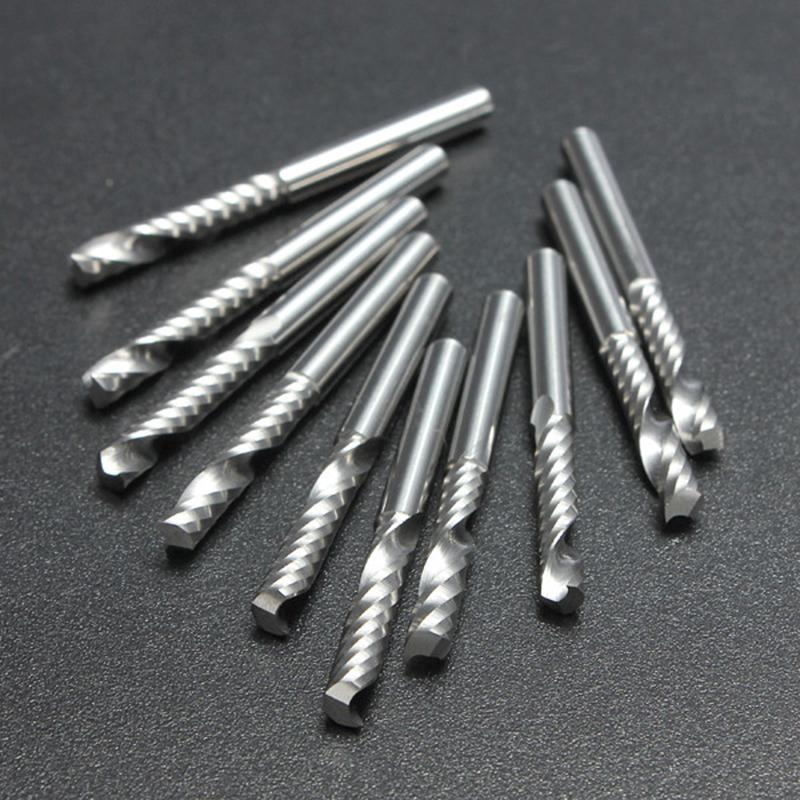 "10pcs 3.175mm 1//8/"" Single Flute Carbite spiral End Mill Cutter CNC Bit 22mm CEL"