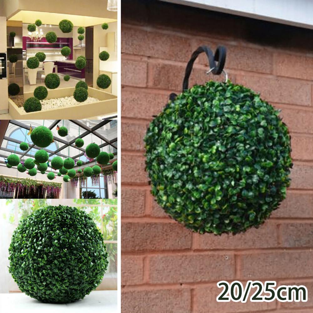 Artificial Hanging Green Grass Plant Ball Topiary Home Garden Wedding Decor