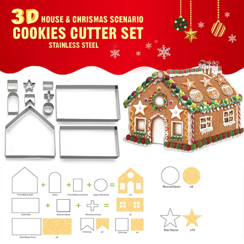 10pcs Stainless Steel Christmas House Cookie Cutter Kit 3d Chocolate House Cookie Cutter Set Buy At A Low Prices On Joom E Commerce Platform