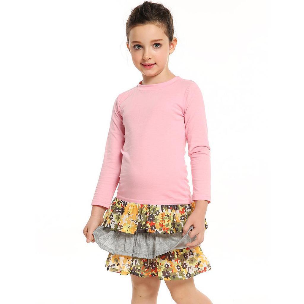 Nuevas chicas Chico moda vestido Casual estampado Floral manga larga ...