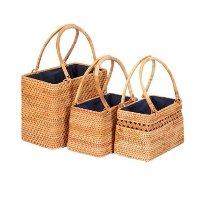 Women Holiday Style Handmade Straw Basket Handbag Bag Tote Beach Bags Fashion Cutout