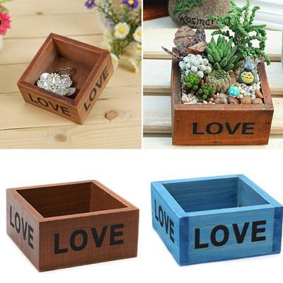 Wood Wooden Flower Pot Succulent Planter Storage Box Desktop Decor 34cm