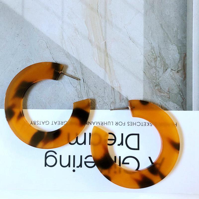 Tortoiseshell Earrings Tortoise Hoop Faux Bloggers Resin Stud Brown Acrylic UK