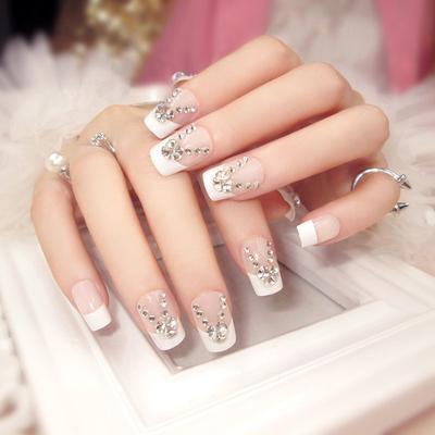 58a7597b2e 24pcs   Set largo francés uñas postizas con pegamento para novia Madrina  damas partido completo uñas