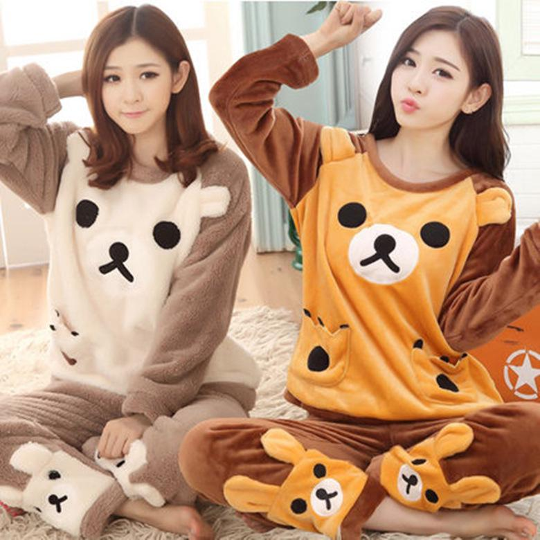 Details about  /Women Flannel Winter Pajama Set Sleepwear Thick Plush Hoodie Solid Color