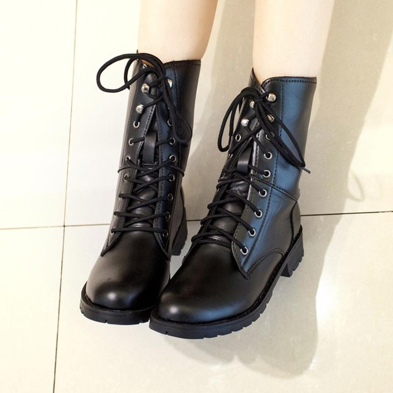 Women Martin Combat Military Boots Leather Low Heel Ankle Casual Lace-Up Booties