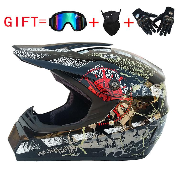 Professional Motocross Helmet Set ATV Off Road Helmet Unisex Adult Full Face Helmet With Goggles,Gloves,Mask, S, M, L, XL