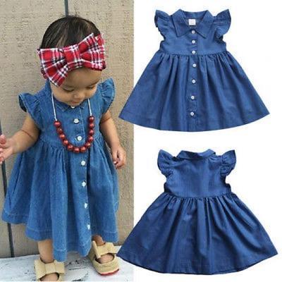 Kids Baby Girl Princess Sleeveless Denim Party Dress