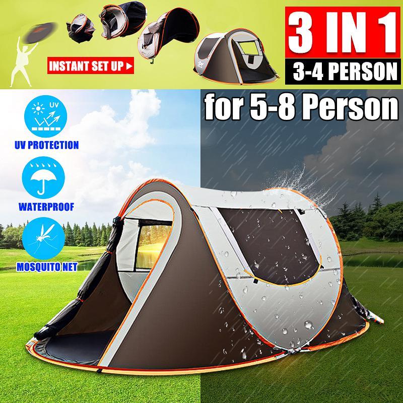 Famille Instantanée Pop Up Tente 2-6 personne Étanche Randonnée Backpacking Camping Dôme