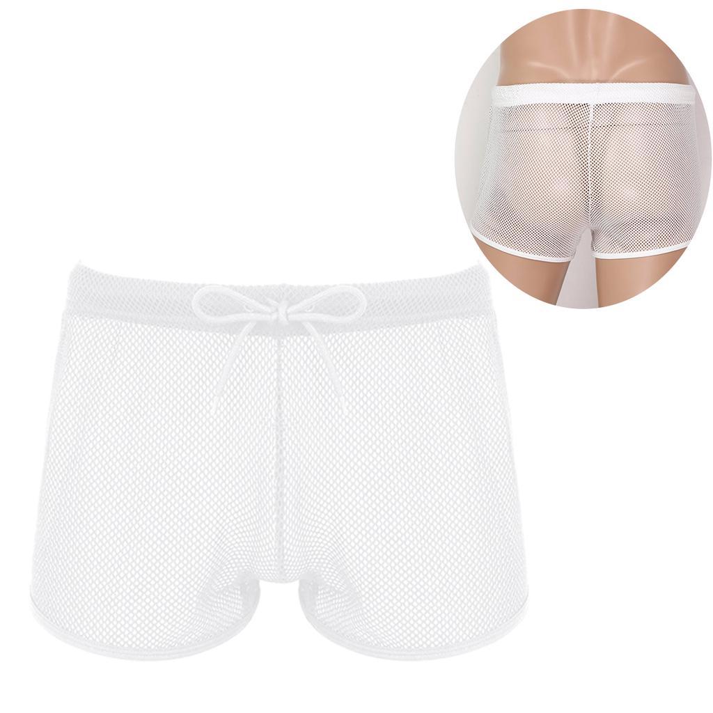 Men/'s Drawstring Fishnet Underwear Hollow Out Sheer Mesh Beach  Shorts