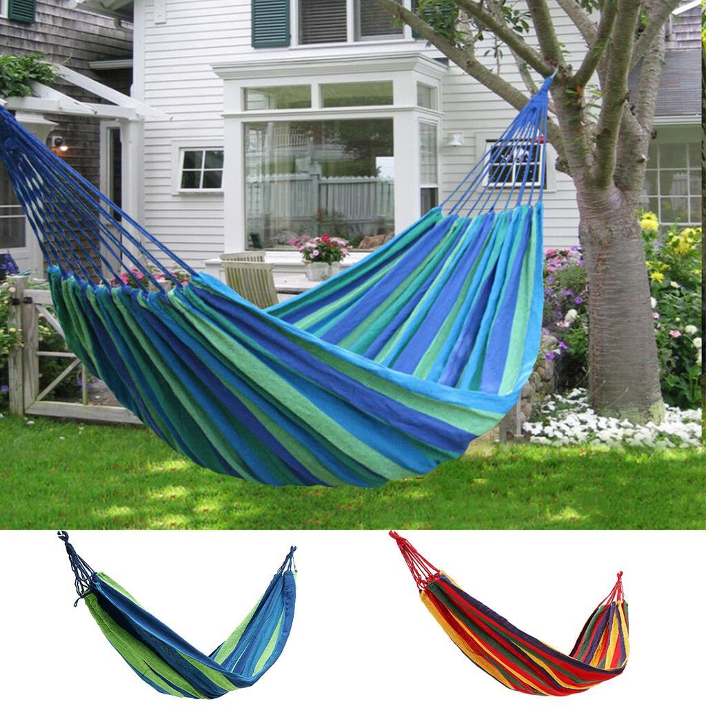Garden Hammock,Blue Stripes Canvas Hammock Camping Travel Swing Single Person