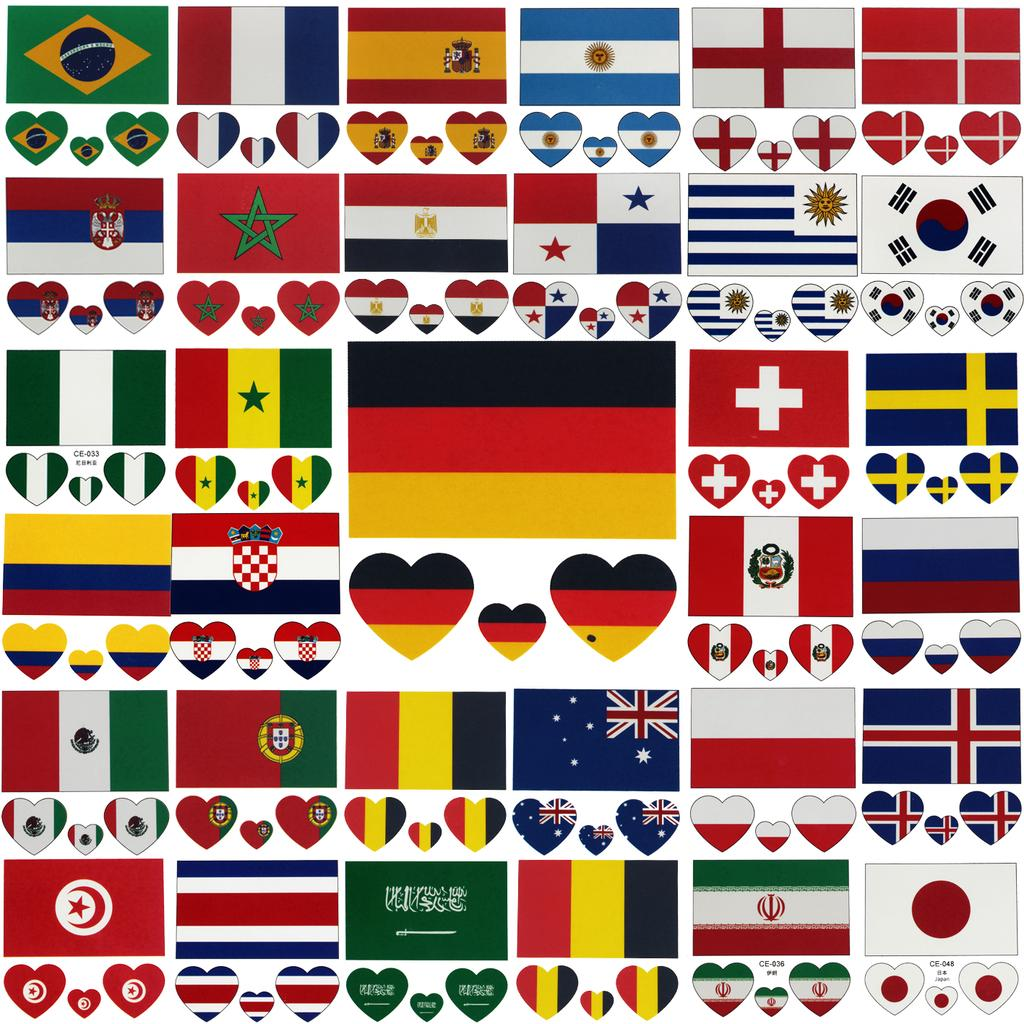 de6687bdc Rocooart 10PCS Russia World Cup 2018 Waterproof Flag Tattoo Stickers ...
