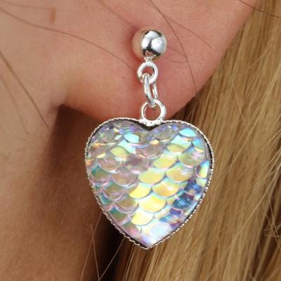Fashion Fish Dragon Scale Mermaid Bling Gem Heart Stud Drop Earrings
