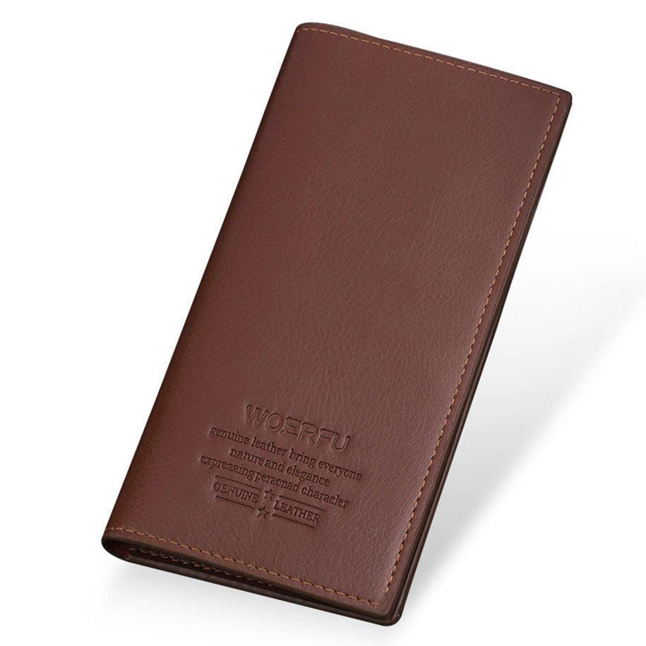 Mens Vintage PU Leather Long Wallet for Credit Cards Soft Durable Slim Long Thin Bifold Multi-Card Wallet