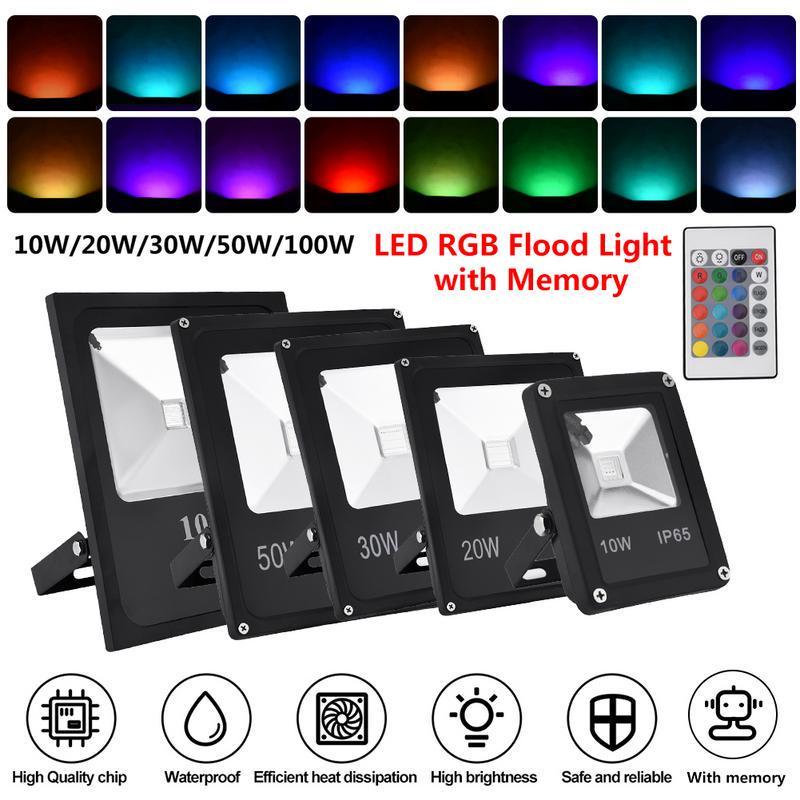 LED RGB Flood Light 100W 50W 30W 20W 10W Outdoor Garden Color Changing Remote