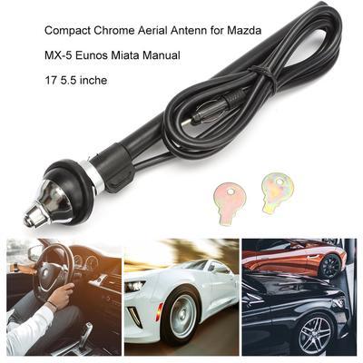 black JIUY for Mazda MX-5 Eunos Miata Manual Compact Chrome Aerial Antenna 17 for Mazda MX-5 Compact Chrome Aerial Antenn 5.5 inche