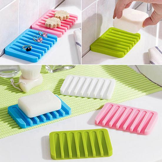 Details about  /SUBEKYU Soap Dish with Draining Tray Silicone Soap Holder Saver for Shower//Bath